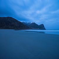 Unstad beach at dawn, Vestvøågøy, Lofoten Islands, Norway