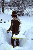 FA18-001z  Weather - boy shoveling snow