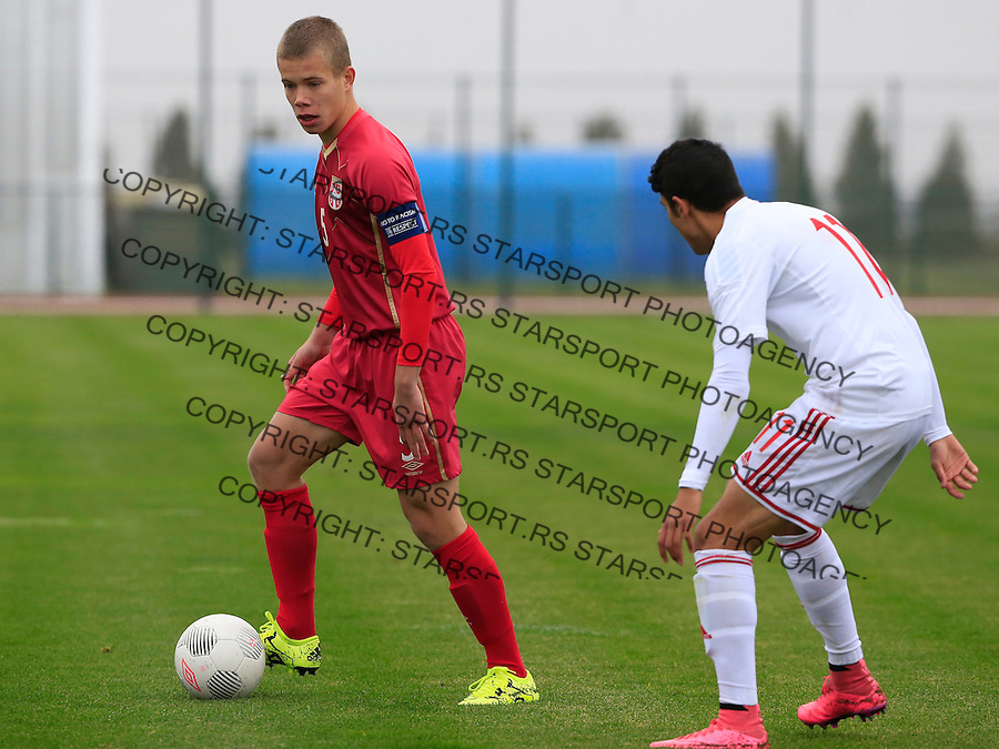 Fudbal soccer friendly match<br /> Srbija U17 v Madjarska U17<br /> Jovan Vlalukin<br /> Stara Pazova, 08.12.2015.<br /> foto: Srdjan Stevanovic/Starsportphoto &copy;
