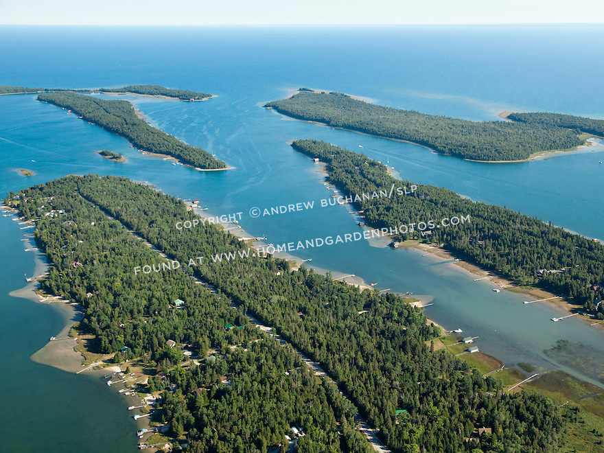 Hill Island, Island #8, Coryell Island, and Boot Island in Les Cheneaux area of Lake Huron near Cedarville, MI