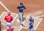 23 August 2015: Milwaukee Brewers catcher Jonathan Lucroy crosses the plate after hitting a 2-run homer in the first inning against the Washington Nationals at Nationals Park in Washington, DC. The Nationals defeated the Brewers 9-5 in the third game of their 3-game weekend series. Mandatory Credit: Ed Wolfstein Photo *** RAW (NEF) Image File Available ***