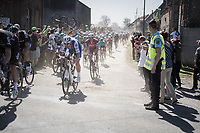 Tom Boonen (BEL/Quick-Step Floors) exiting the first part of the first cobbled sector from Troisvilles to Inchy<br /> <br /> 115th Paris-Roubaix 2017 (1.UWT)<br /> One Day Race: Compi&egrave;gne &rsaquo; Roubaix (257km)