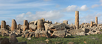 Ruins of the colossal Temple G, begun around 550 BC. The temple was still unfinished when Selinunte was destroyed in 409 BC., Sicily, Italy. Picture by Manuel Cohen