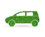 Green car. Automobile shape made from green leaves. Isolated on white background.