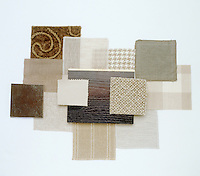 A collection of fabric swatches illustrating the colour range from oatmeal to twine