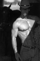 muscular shirtless cowboy in a barn