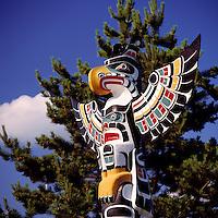 Kwakwaka'wakw (Kwakiutl) Totem Pole, Duncan, BC, Vancouver Island, British Columbia, Canada - Close Up Detail of Thunderbird.  Duncan is called City of Totem Poles.