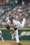 Seattle Mariners' starter Ryan Rowland-Smith pitches against Oakland Athletics' Kurt Suzuki in the second inning of the opening home game at SAFECO Field in Seattle April 12, 2010. The Athletics beat the Mariners 4-0.  Jim Bryant Photo. &copy;2010. ALL RIGHTS RESERVED.
