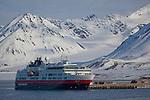 The Hurtigruten cruise ship Fram, at Ny Alesund, Kongsfjord, Svalbard