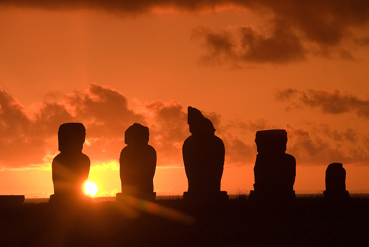 Chile, Easter Island: Statues or moai on a platform or ahu called Ahu Tahai near the town of Hanga Roa..Photo #: ch207-32644.Photo copyright Lee Foster www.fostertravel.com lee@fostertravel.com 510-549-2202