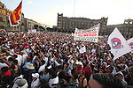 More than five hundred thousand people march during a rally heading to the main Mexico City's mian square Zocalo to demand to reverse the decision of the dissolution of the Luz y Fuerza del Centro (LFC) company, October 15, 2009. More than sixty thousand workers demand the Calderon's action as illegal and unconstitutional. The Electrical Workers Union (SME) is an union since 1914 and it has leading historic workers struggles in Mexico. Photo by Heriberto Rodriguez