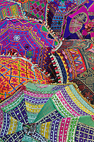 Colorful umbrella fabrics, Pushkar Fair, India
