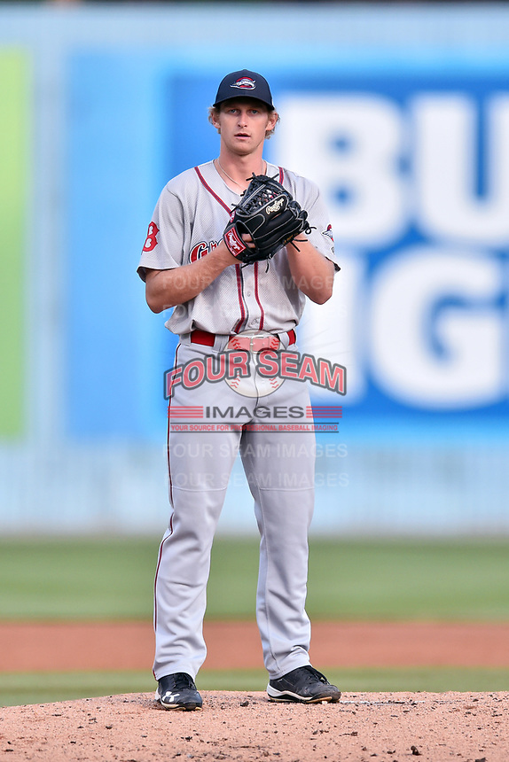 Greenville Drive starting pitcher Logan Boyd (39) looks in for the signals during a game against the Asheville Tourists at McCormick Field on April 14, 2017 in Asheville, North Carolina. The Drive defeated the Tourists 6-0. (Tony Farlow/Four Seam Images)