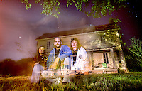 Amanda Kelsoe, Keith Duncan and Denise Duncan pose in front of an old house near Moulton that they are investigating for paranormal activity.  photo by Gary Cosby Jr.  10/18/08