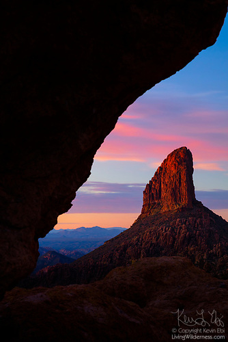 Weavers Needle Framed at Sunset, Superstition Wilderness, Arizona