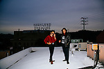 Silk Rhodes, which is Michael Collins and Sasha Desree, stand on the rooftop of Stones Throw Records in Los Angeles, California December 1, 2014. / Photo by Brinson + Banks
