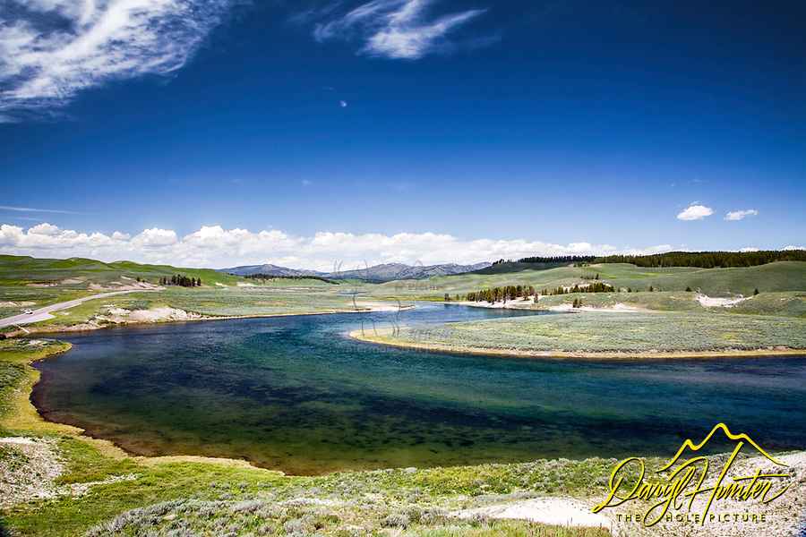 The Yellowstone River meanders and winds through the Hayden Valley of Yellowstone National Park.