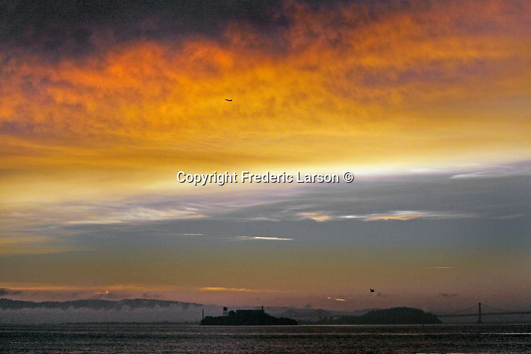 Colorful skies seen over Alcatraz Island in  Francisco, California.