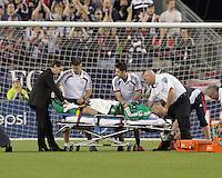Injured New England Revolution goalkeeper Preston Burpo (24). The New England Revolution defeated the New York Red Bulls, 3-2, at Gillette Stadium on May 29, 2010.