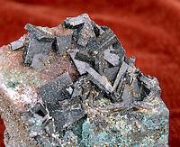BARITE<br /> Barium Sulfate (BaSO4)<br /> Orthorhombic-Rhombic bipyramidal crystals found in sedimentary rocks in ore veins. Large tabular crystals.