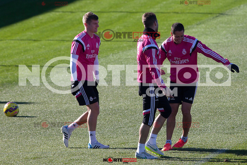 Toni Kroos, Chicharito, Sergio Ramos during a sesion training at Real Madrid City in Madrid. January 23, 2015. (ALTERPHOTOS/Caro Marin) /NortePhoto<br />