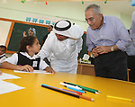 "Palestinian Prime Minister Salam Fayyad visits ""al-Mustqabal"" Kindergarten in Ein al-Sultan refugee camp in the occupied West Bank city of Jericho on September 30, 2012. Photo by Mustafa Abu Dayeh"
