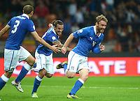 Fussball International  WM Qualifikation 2014   Italien - Daenemark                16.10.2012 Jubel Giorgio Chiellini, Pablo Osvaldo und Daniele De Rossi (v. li., Italien)