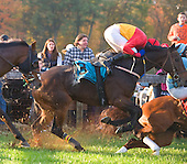 Paddy Young holds on tight as Haddix stumbles in the NJ Hunt Cup at Far Hills.