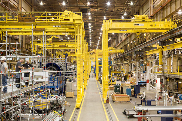July 6, 2016. Greenville, South Carolina. <br />  On the factory floor of the GE Gas Turbine facility.<br />  At the General Electric Gas Turbine factory, engineers  design, produce, test and repair gas turbines for generating electricity. These turbines weigh more than 900,000 pounds and can create internal combustion temperatures up to 2,900 degrees F. Depending on the model, one of the GE turbines can produce enough electricity for half a million American households.