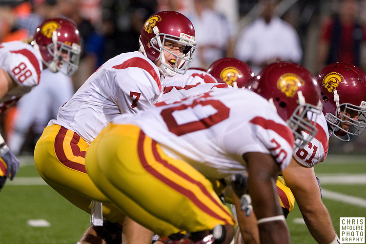 12 September 2009:  Football -- USC quarterback Matt Barkley barks orders during their game against Ohio State at Ohio Stadium in Columbus.  USC won 18-15.  Photo by Christopher McGuire.