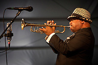 New Orleans born jazz trumpeter and composer Nicholas Payton performing on the WWOZ Jazz Tent stage at the New Orleans Jazz and Heritage Festival at the New Orleans Fair Grounds Race Course in New Orleans, Louisiana, USA, 30 April 2009.