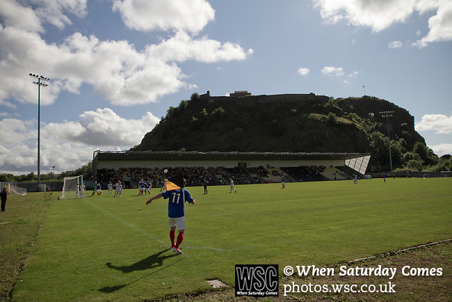 Dumbarton 0 Cowdenbeath 3, 18/08/2012. BetButler Stadium, Scottish League First Division. The home team defending a corner in the shadow of Dumbarton Rock during the first half action at the BetButler Stadium as Dumbarton play Cowdenbeath in an Irn-Bru Scottish League First Division match. An original member of the league, Dumbarton, formed in 1872, moved from Boghead to their current home in 2001 and this was their first home game at the second tier of Scottish football since 1996. Cowdenbeath won the match by 3-0 watched by an attendance of 695. Photo by Colin McPherson.