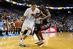 14 November 2014: North Carolina's Justin Jackson (44) and NC Central's Jordan Parks (right). The University of North Carolina Tar Heels played the North Carolina Central University Eagles in an NCAA Division I Men's basketball game at the Dean E. Smith Center in Chapel Hill, North Carolina. UNC won the game 76-60.