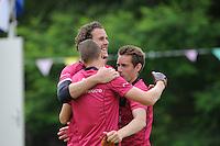 KAATSEN: HARLINGEN: 29-06-2014, Marten Feenstra, Pier Piersma, Martijn Olijnsma winnen, ©foto Martin de Jong
