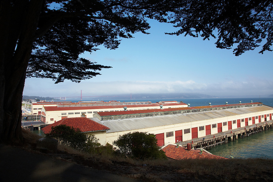 View of Golden Gate Bridge from Fort Mason, San Francisco, CA