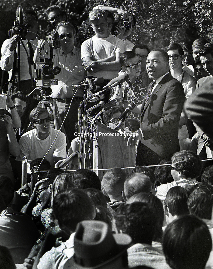 Rev. Martin Luther King Jr. speaking to a crowd at Sproul Plaza, University of California at . Berkeley. (1967 photo By Ron Riesterer)