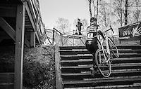 race leader Ellen Van Loy (BEL/Telenet-Fidea) on the steps<br /> <br /> elite women's race<br /> GP Sven Nys 2017