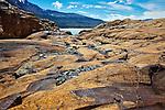 Rock carved by glacial movement at Glacier Viedma in Parque Nacional los Glaciares, near the town of El Chalten, Argentina.