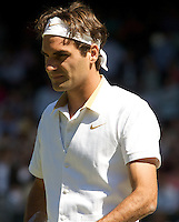 Roger Federer (SUI) (2) against Guillermo Garcia-Lopez (ESP) in the second round of the gentlemen's singles. Federer beat Garcia-Lopez 6-2 6-2 6-4..Tennis - Wimbledon - Day 3 - Wed  24th June 2009 - All England Lawn Tennis Club  - Wimbledon - London - United Kingdom..Frey Images, Barry House, 20-22 Worple Road, London, SW19 4DH.Tel - +44 20 8947 0100.Cell - +44 7843 383 012