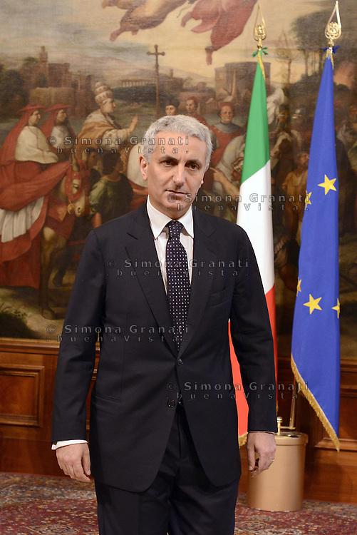 Roma, 28 Aprile 2013.Palazzo Chigi.Primo giorno del Governo Letta..Il Ministro delle riforme istituzionali, Gaetano Quagliariello