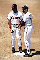 Baseball: San Francisco Giants Barry Bonds and Bobby Bonds. San Francisco, CA 7/28/1993 MANDATORY CREDIT: Brad Mangin