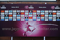 The board full of sponsors for the UEFA Womens U19 Championships at Stebonheath park Sunday 25th August 2013. All images are the copyright of Jeff Thomas Photography-www.jaypics.photoshelter.com-07837 386244-Any use of images must be authorised by the copyright owner.
