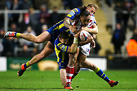Picture by Alex Whitehead/SWpix.com - 16/03/2017 - Rugby League - Betfred Super League - Leigh Centurions v Warrington Wolves - Leigh Sports Village, Leigh, England - Leigh's Atelea Vea is tackled by Warrington's Joe Westerman and Kurt Gidley.