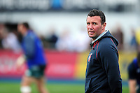 Leicester Tigers Head Coach Aaron Mauger looks on during the pre-match warm-up. Aviva Premiership semi final, between Saracens and Leicester Tigers on May 21, 2016 at Allianz Park in London, England. Photo by: Patrick Khachfe / JMP
