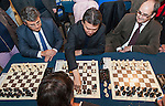 Kirsan Ilyumzhinov, President of FIDE-World Chess Federation, opens the chess room at cultural and sports complex Petxina (Valencia-Spain).<br />