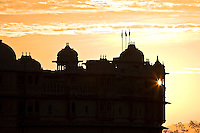 The silhouette of the Maharaja's City Palace at dawn. (Photo by Matt Considine - Images of Asia Collection)