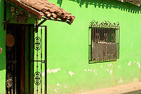 Lime green facade of a restored house in the town of El Quelite near  Mazatlan, Sinaloa, Mexico