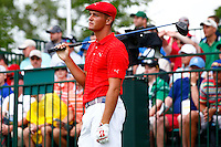 Bryson DeChambeau reacts following his tee on the 1st hole during the 2016 U.S. Open in Oakmont, Pennsylvania on June 16, 2016. (Photo by Jared Wickerham / DKPS)