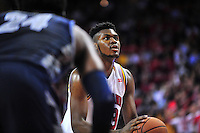 Diamond Stone of the Terrapins shoots a free throw. Maryland defeated Georgetown 75-71 during a game at Xfinity Center in College Park, MD on Wednesday, November 17, 2015.  Alan P. Santos/DC Sports Box