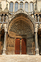 South facade and portals of the gothic  Cathedral of Notre Dame, Chartres, France. . A UNESCO World Heritage Site.